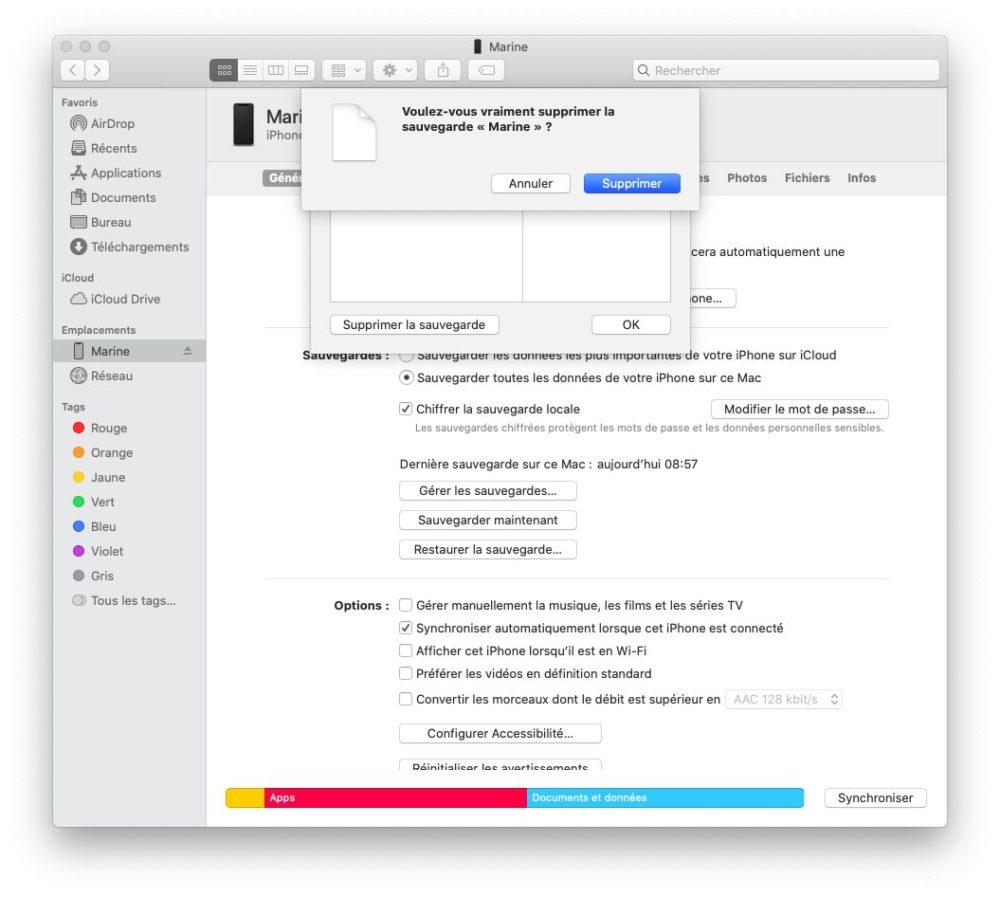 finder valider supprimer sauvegarde Comment et pourquoi effectuer une sauvegarde archivée de son iPhone ?