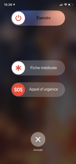 iphone eteindre appel urgence fiche medicale Consulter la fiche médicale, en urgence, d'un iPhone verrouillé