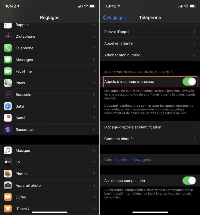 iphone reglages appels inconnus silencieux Comment rediriger vers la messagerie de votre iPhone les numéros inconnus
