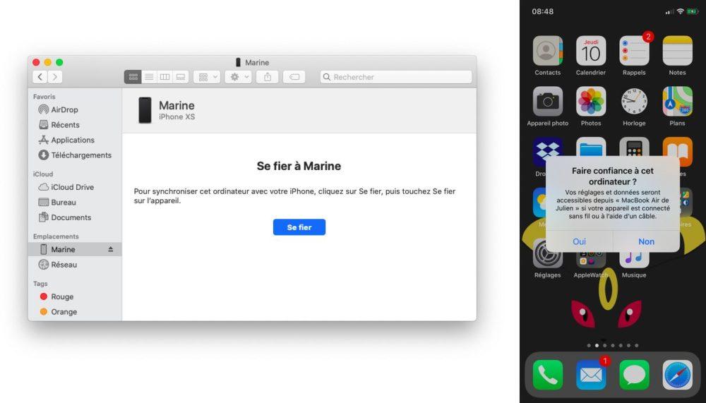 itunes finder confiance Comment trouver l'iPhone avec macOS Catalina pour synchroniser et sauvegarder