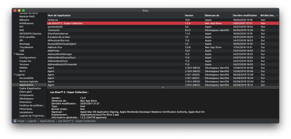 mac informations system 64 bits macOS Catalina : comment savoir si vous avez des apps 32 bits