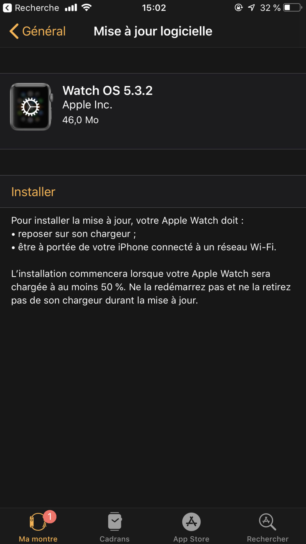 Apple propose watchOS 5.3.2 sur lApple Watch Series 4
