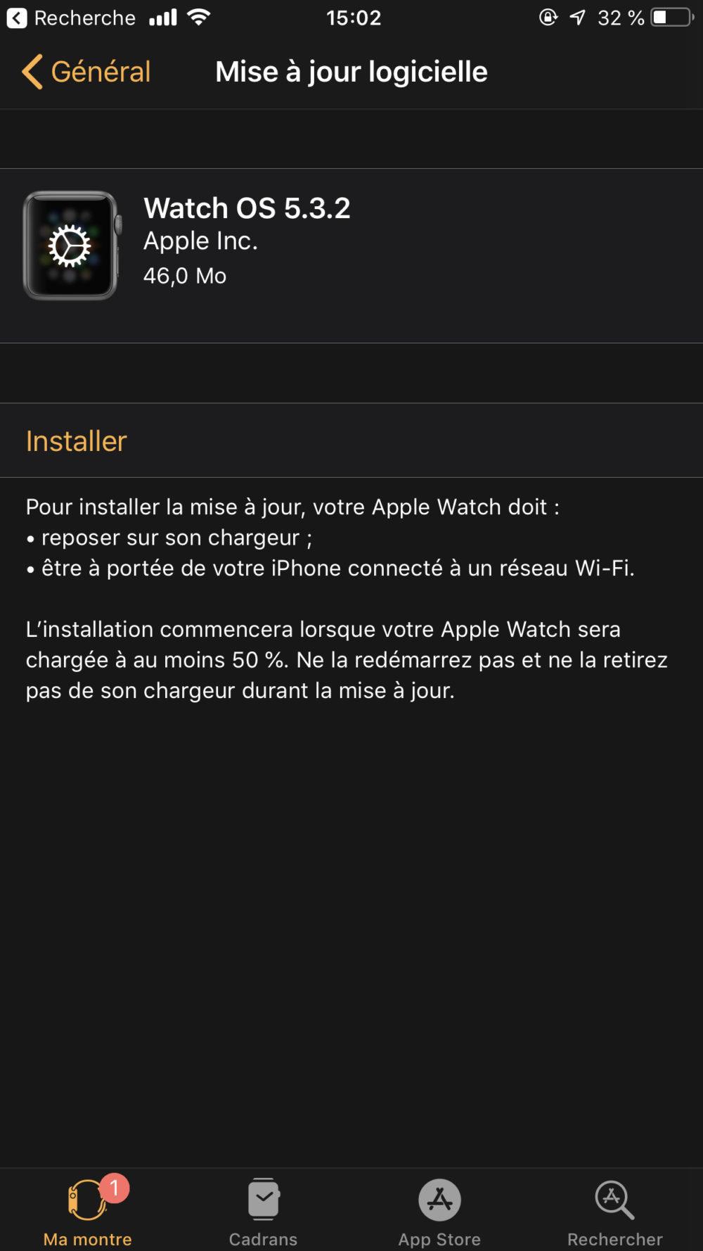 Apple propose watchOS 5.3.2 sur lApple Watch Series 4