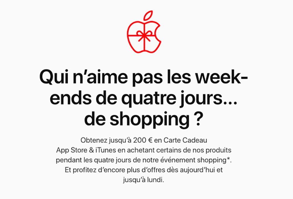 Apple Black Friday 2019 Black Friday Apple en France : jusquà 200 euros en cartes cadeaux