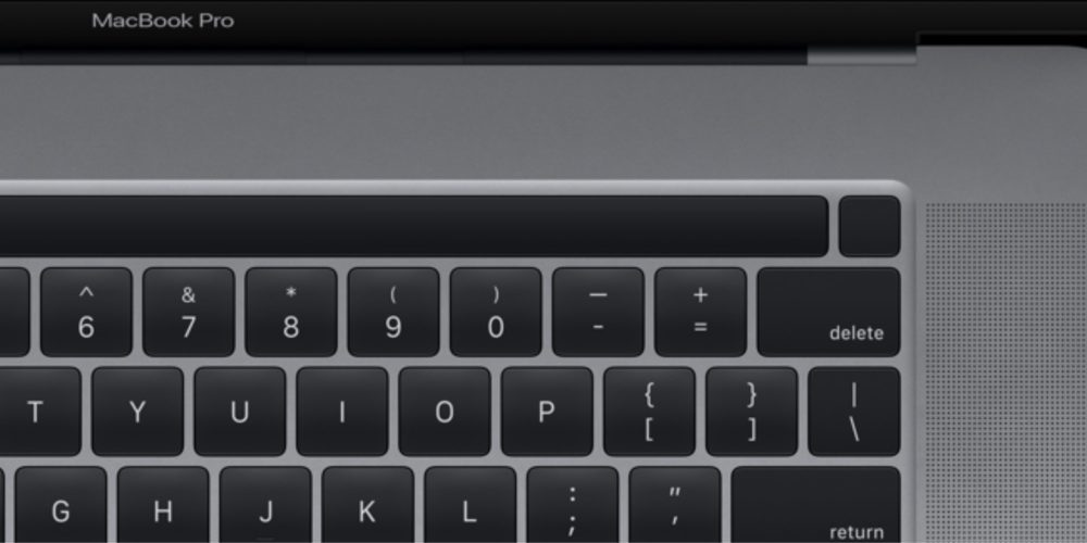 MacBook Pro 16 Pouces Touch Bar Touch ID 1000x500 MacBook Pro 16 pouces : le capteur dempreintes Touch ID sera détaché de la Touch Bar