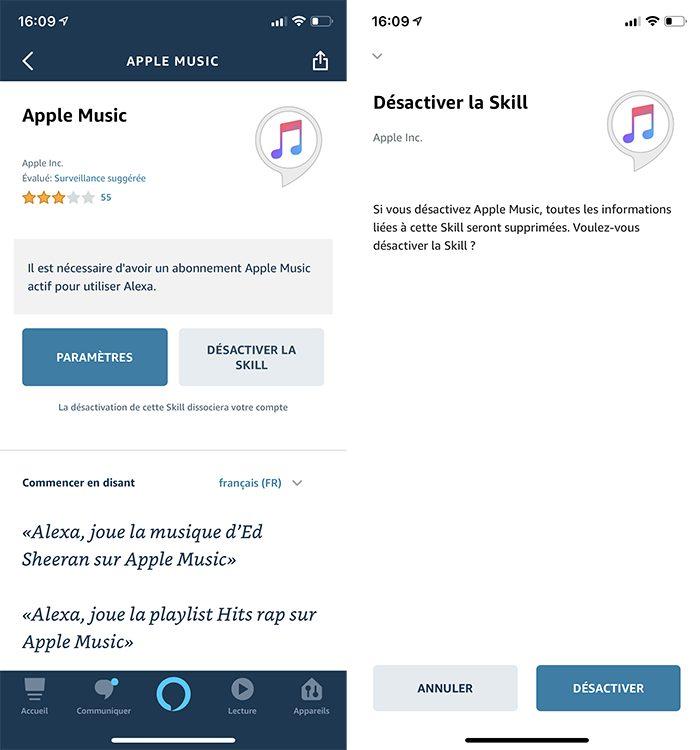 iphone alexa desactiver skill Comment écouter la musique d'Apple Music avec Alexa d'Amazon