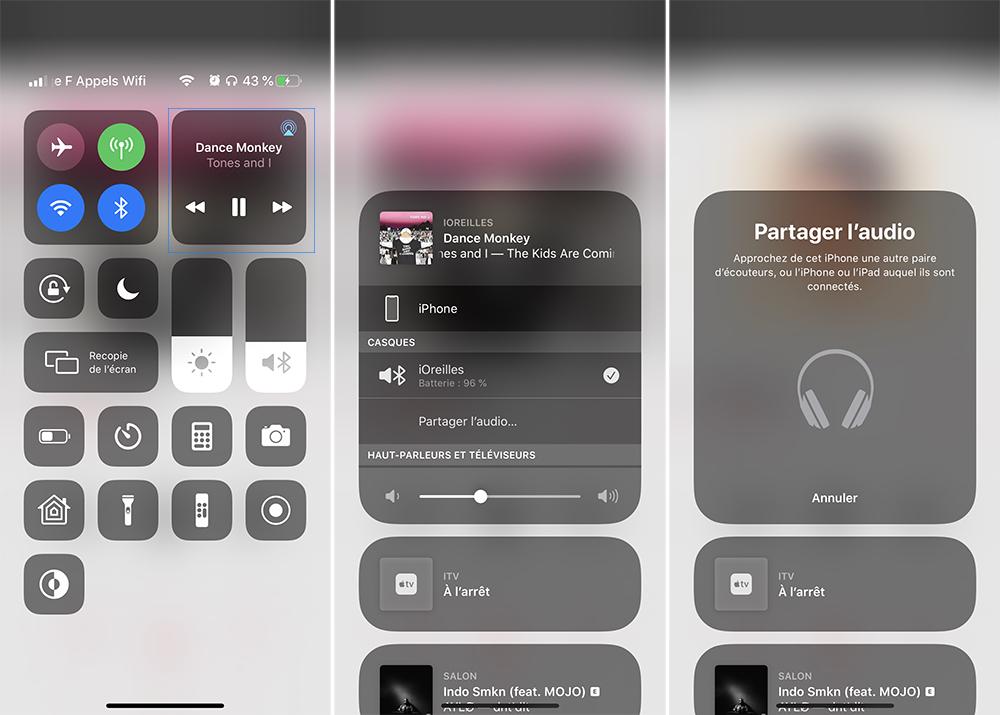 iphone demarrer partage audio Comment écouter de la musique à 2 sur un même iPhone avec le partage audio