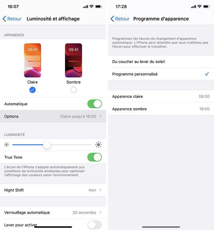 iphone programmer mode sombre Comment utiliser le mode nuit sur iPhone ou iPad