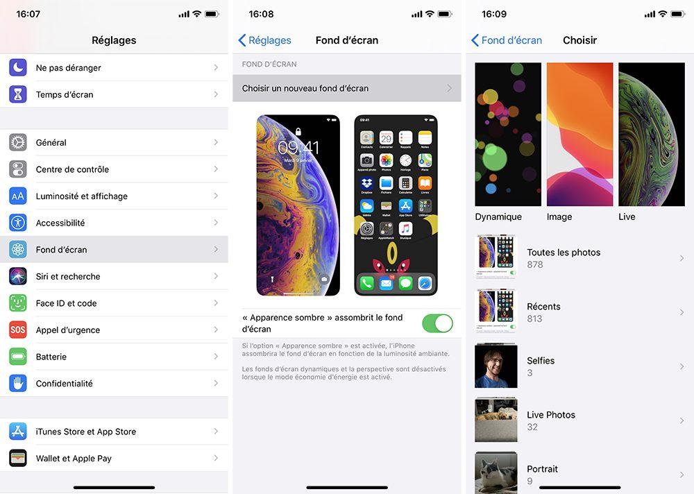 iphone reglages fond decran Comment utiliser le mode nuit sur iPhone ou iPad