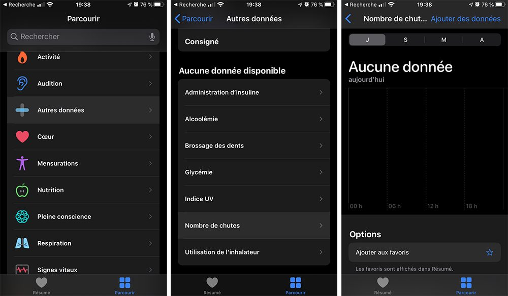 iphone resultats nombre chutes L'Apple Watch et la détection des chutes