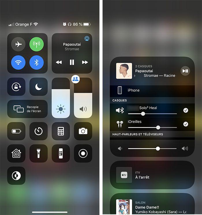 iphone volume partage audio Comment écouter de la musique à 2 sur un même iPhone avec le partage audio