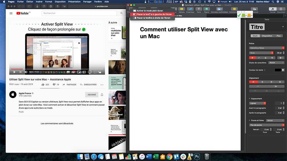 mac split view fenetre1 Comment utiliser Split View avec un Mac
