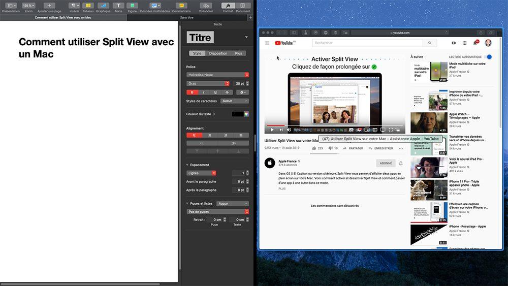 mac split view fenetre2 Comment utiliser Split View avec un Mac