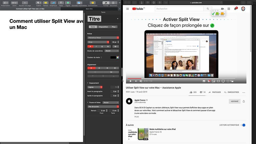 mac split view taille Comment utiliser Split View avec un Mac