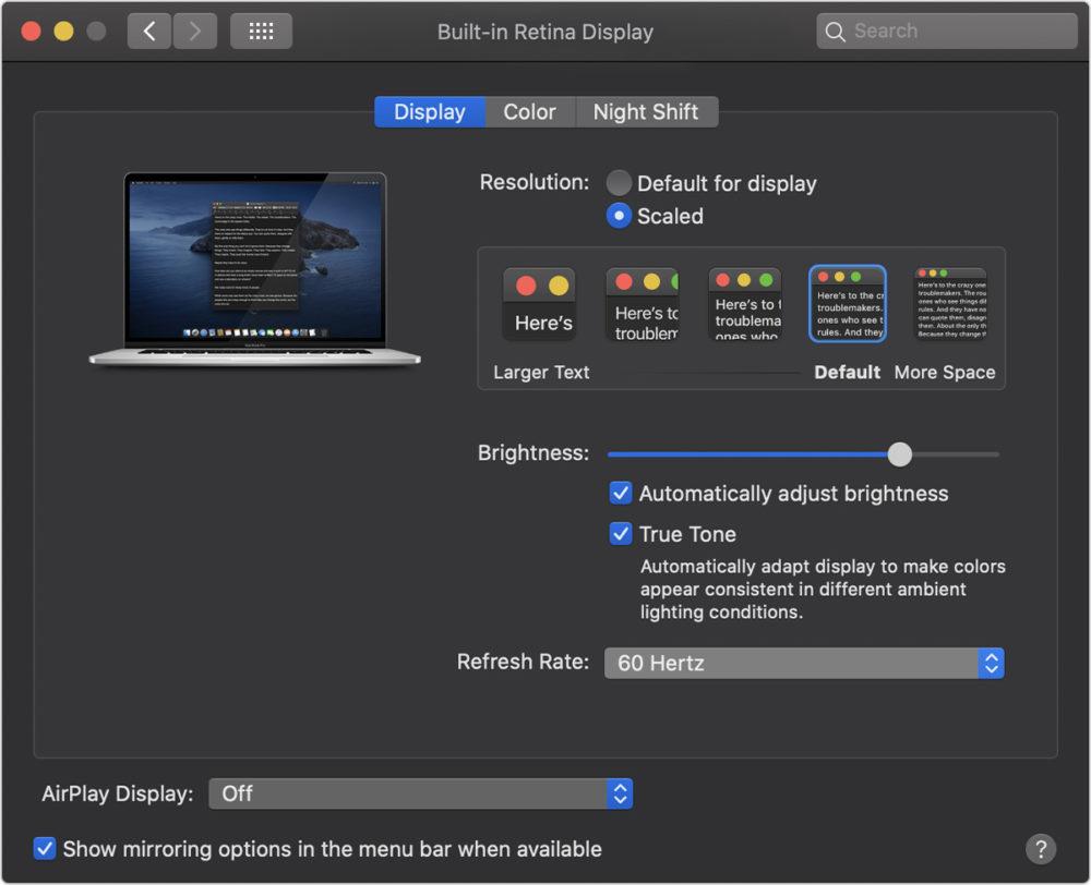 macos catalina system prefs displays refresh rate MacBook Pro 16 pouces : il est possible de changer le taux de rafraîchissement de lécran