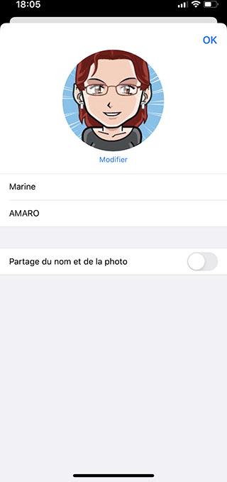 iphone messages desactiver partage nom photo Comment personnaliser sa fiche contact dans Messages ?