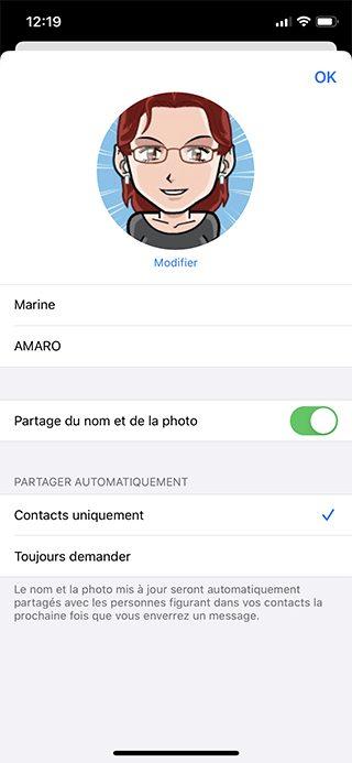 iphone messages partage fiche Comment personnaliser sa fiche contact dans Messages ?