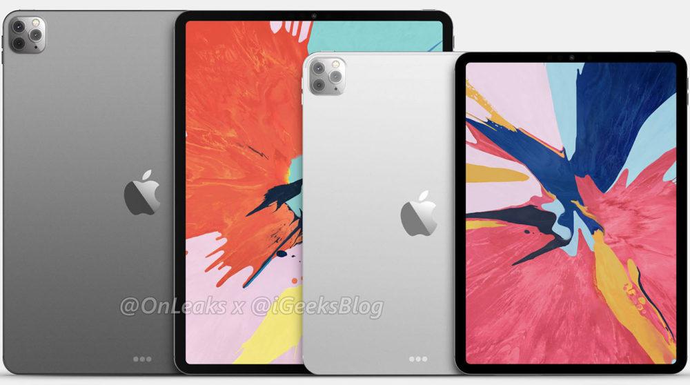 2020 iPad Pro Rendus 3 Des coques montrent le trou pour le module photo carré de liPad Pro 2020