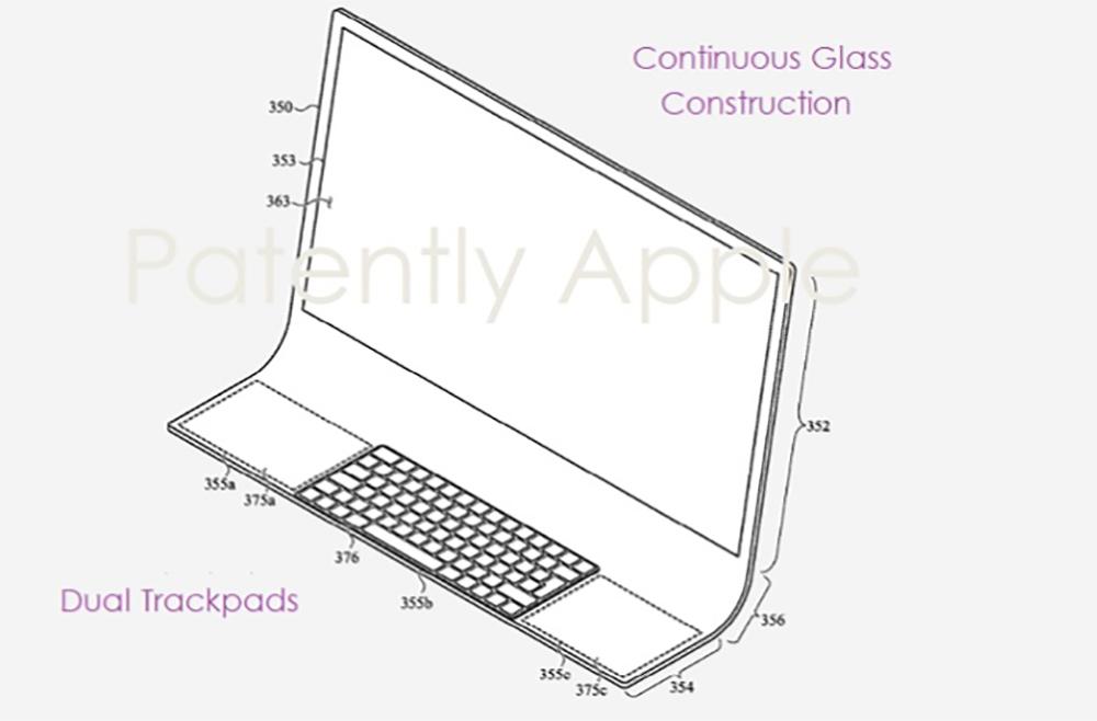 Brevet iMac Bloc de Verre Un brevet déposé par Apple imagine un iMac en une seule plaque de verre courbée