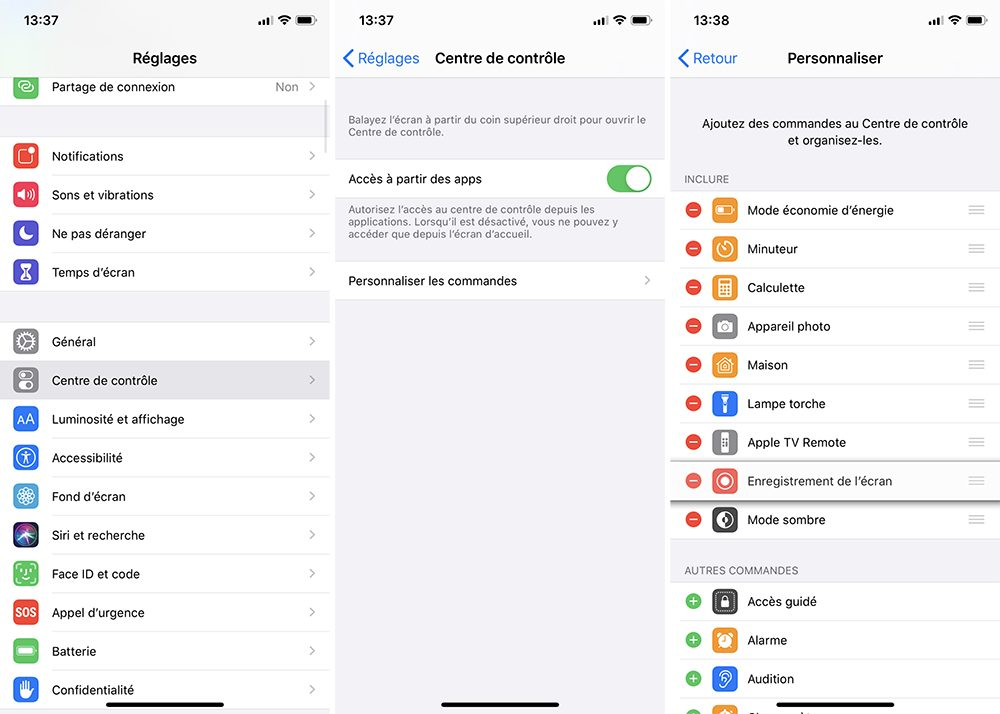 iphone centre controle reglages Utiliser et personnaliser le centre de contrôle sur son iPhone, iPad et Apple Watch