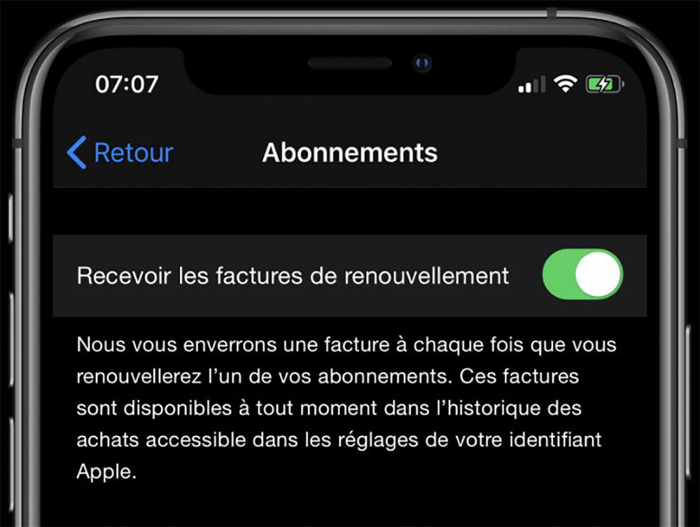 Email Abonnement iPhone Apple propose de ne plus recevoir les factures de renouvellement des abonnements