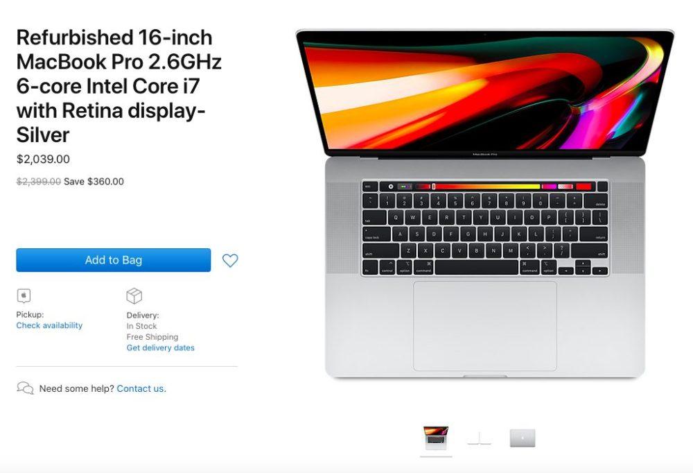 MacBook Pro 16 Pouces Reconditionne Les MacBook Pro 16 pouces reconditionnés sont mis en vente par Apple (États Unis)