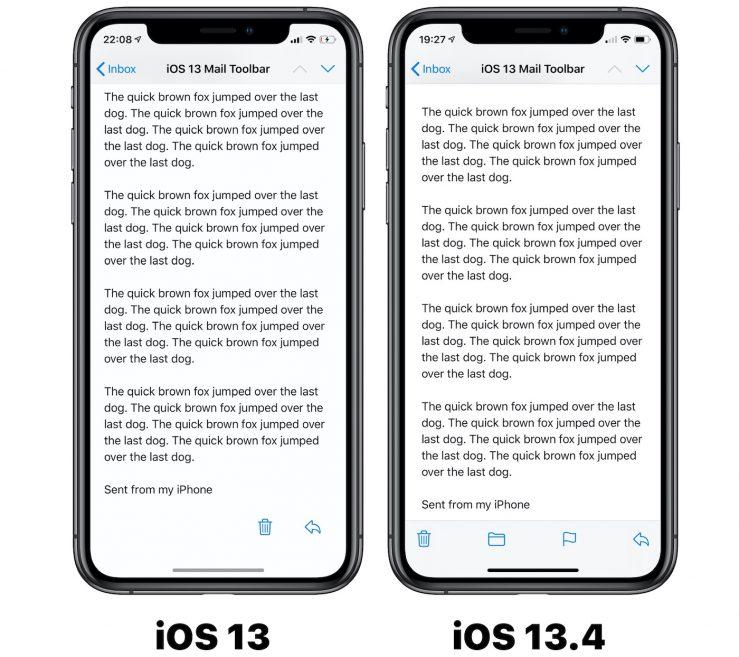 Mail Boutons iOS 13 vs iOS 13 4 iOS 13.4 bêta 2 : nouvelle disposition des boutons dans lapplication Mail