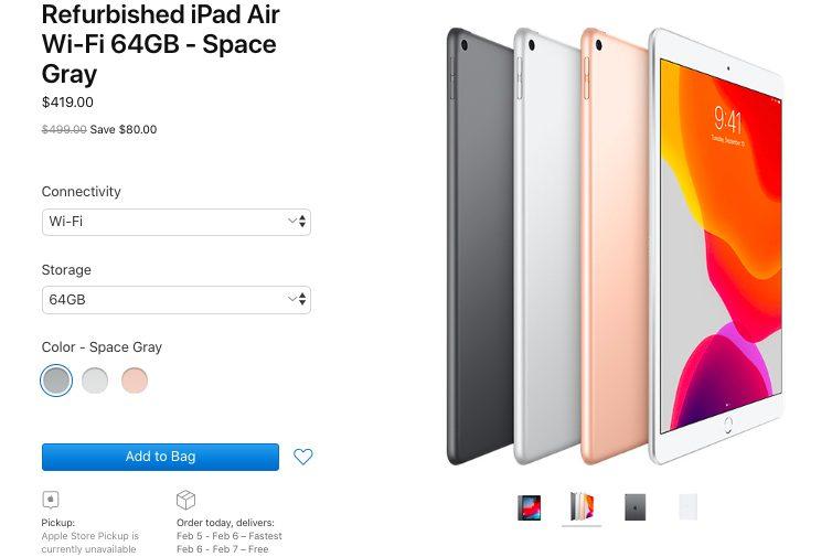 iPad Air Reconditionne Apple Apple vend désormais liPad mini 5 et liPad Air 10,5 pouces reconditionnés aux États Unis