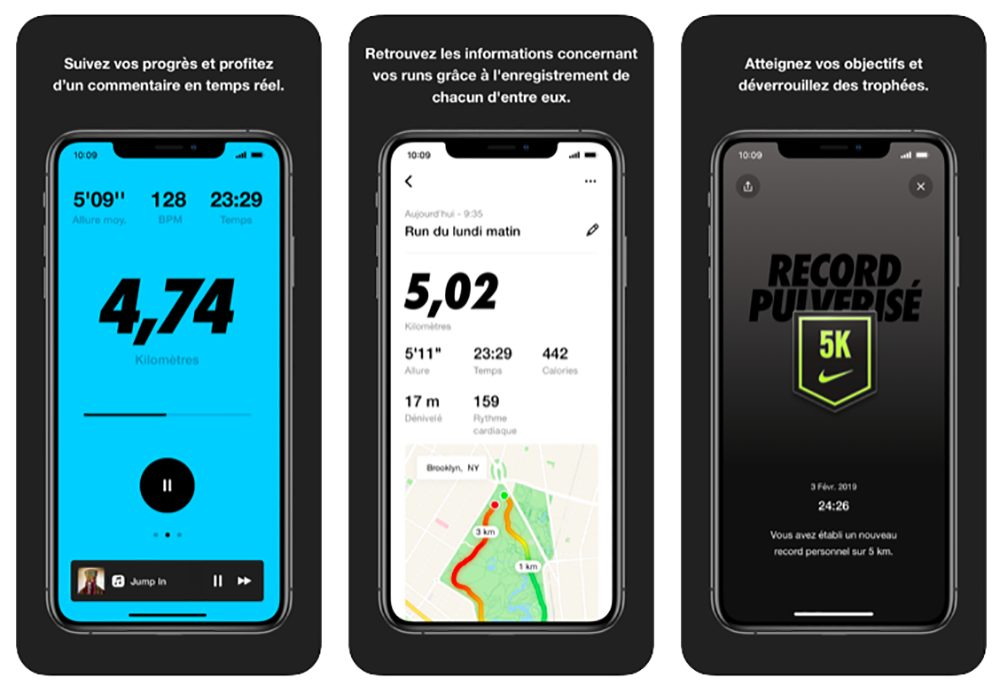 App Nike Run Club Nike Run Club sur iPhone et Apple Watch : détails du run améliorés, couleur du niveau du run...