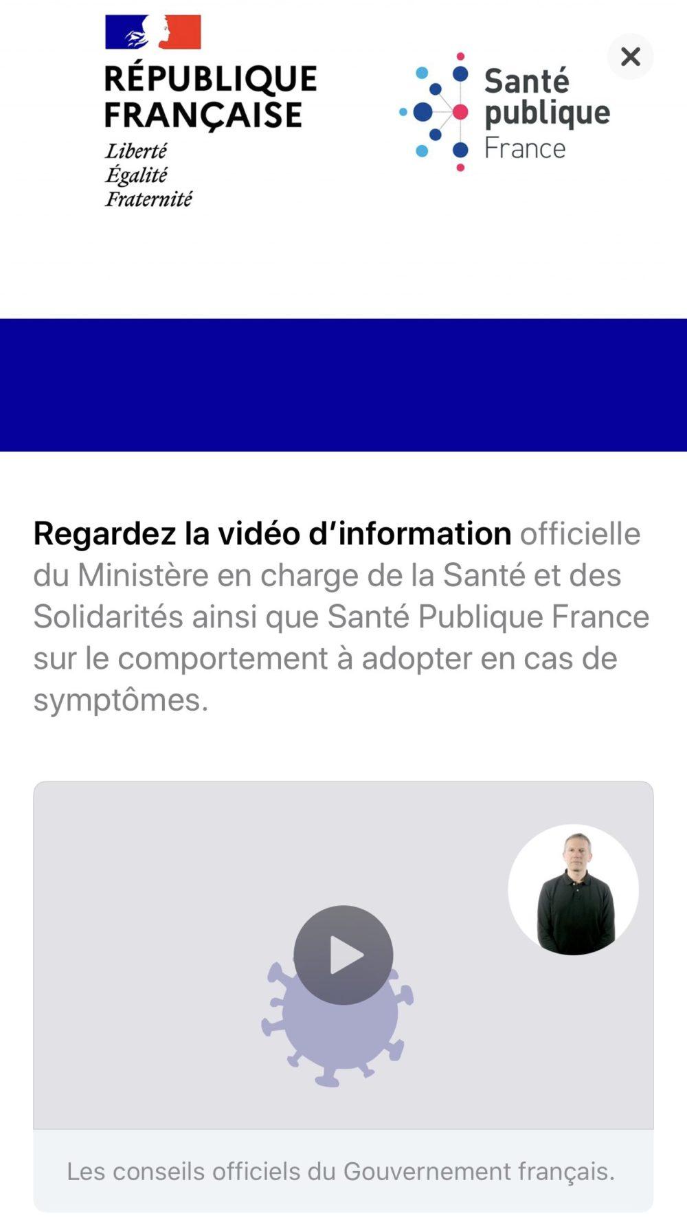 App Store Coronavirus Message Gouvernement Francais COVID 19 : un message du gouvernement est publié sur lApp Store français