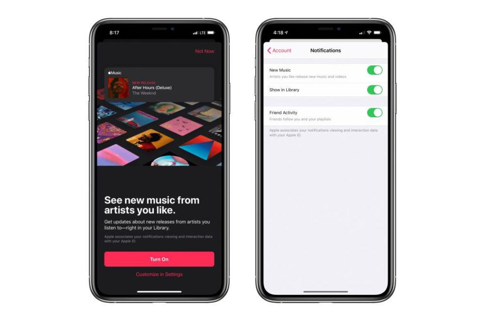 Apple Music Notifications Apple Music : des notifications à la sortie dune chanson, dun album... dun artiste favori
