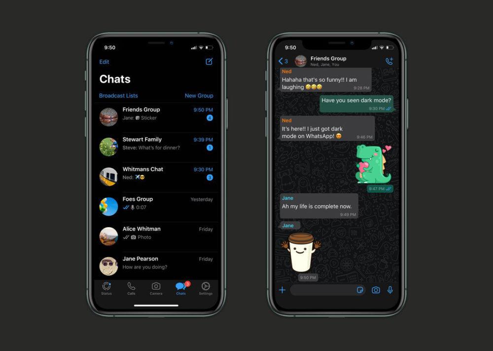 WhatsApp Mode Sombre iPhone WhatsApp propose le mode sombre sur son application iPhone à tous les utilisateurs