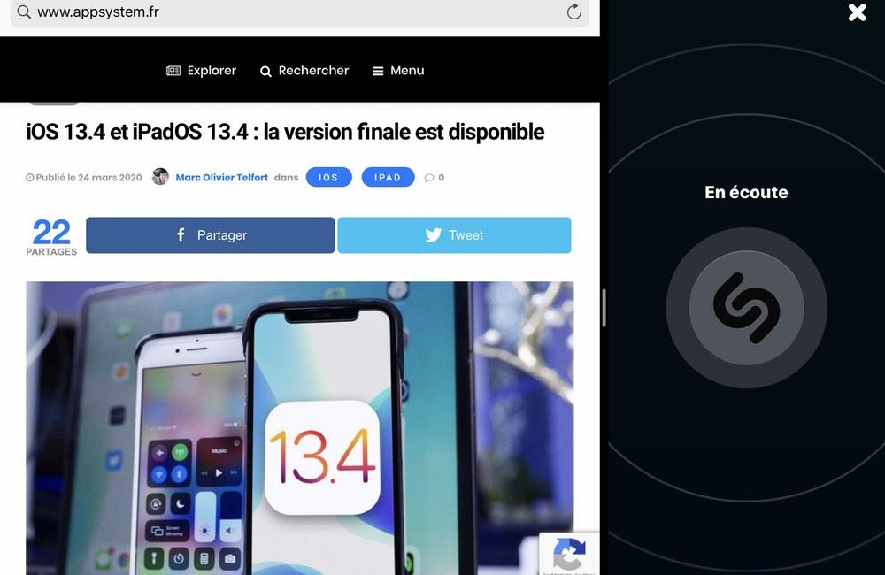 ipad shazam split view Mise à jour : Shazam et Split View sur iPad