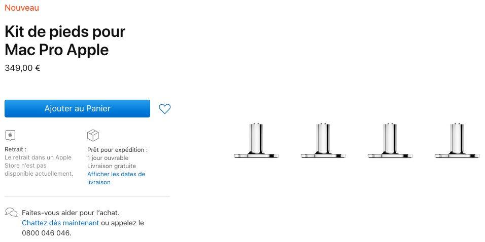 Kit Pieds Mac Pro Apple Mac Pro 2019 : Apple vend maintenant des pieds et des roues (de 349 à 849 euros)