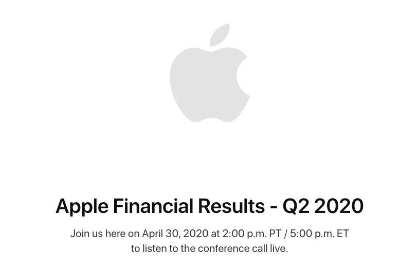 Resultats Financiers Apple Q2 2020 Les résultats financiers du deuxième trimestre 2020 dApple seront publiés le 30 avril : baisse prévue