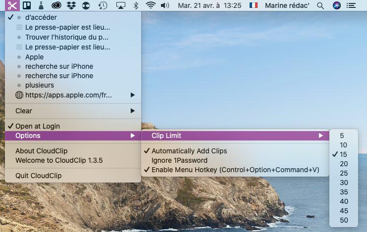 mac cloudclip Trouver lhistorique du presse papier sur Mac et iPhone