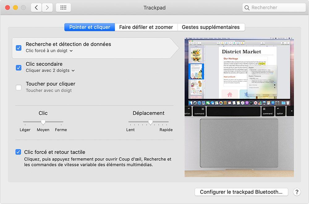 macos reglages trackpad Comment utiliser Force Touch sur le trackpad du Mac