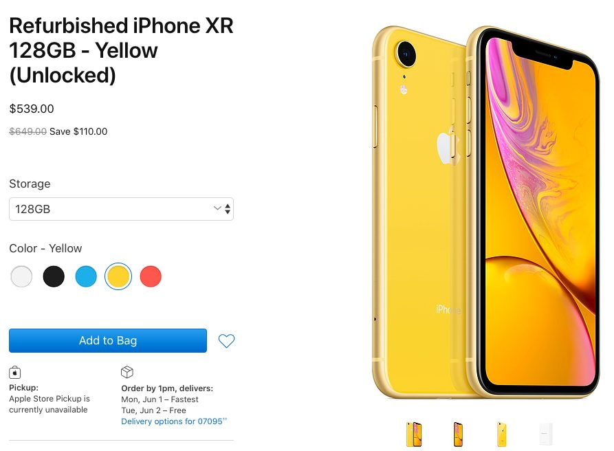 iPhone XR Reconditionnes Les iPhone XR reconditionnés sont disponibles à la vente aux États Unis