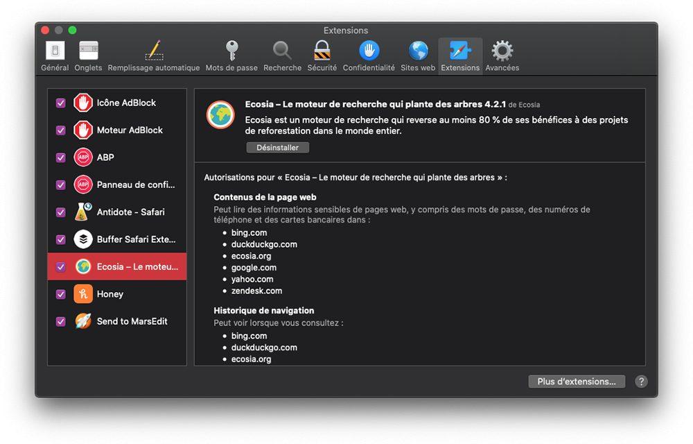 mac safari preferences extensions Safari : comment changer le moteur de recherche Google par défaut sur iPhone et Mac
