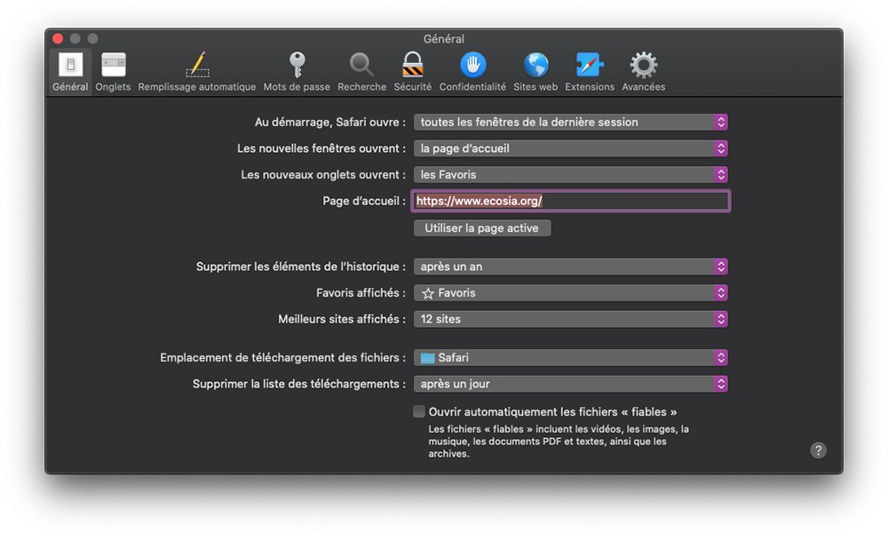 mac safari preferences general Safari : comment changer le moteur de recherche Google par défaut sur iPhone et Mac