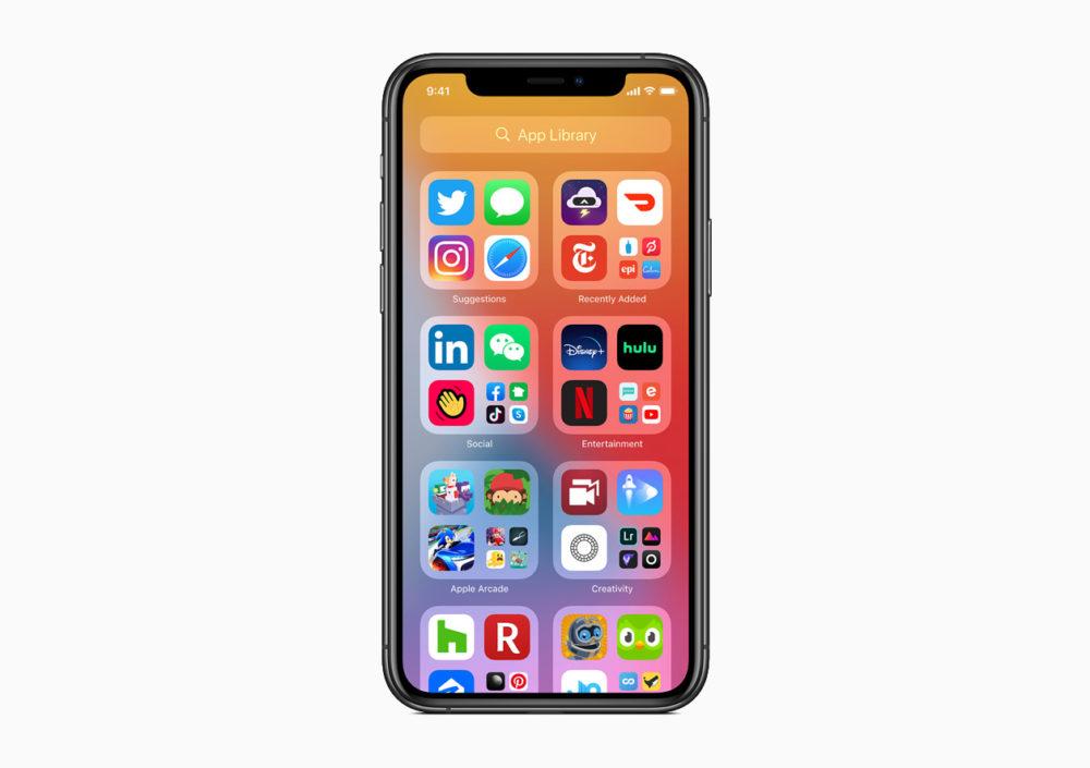 Apple iOS 14 App Library Apple présente iOS 14 : widgets sur lécran daccueil, App Library, Image dans Image sur lécran daccueil...