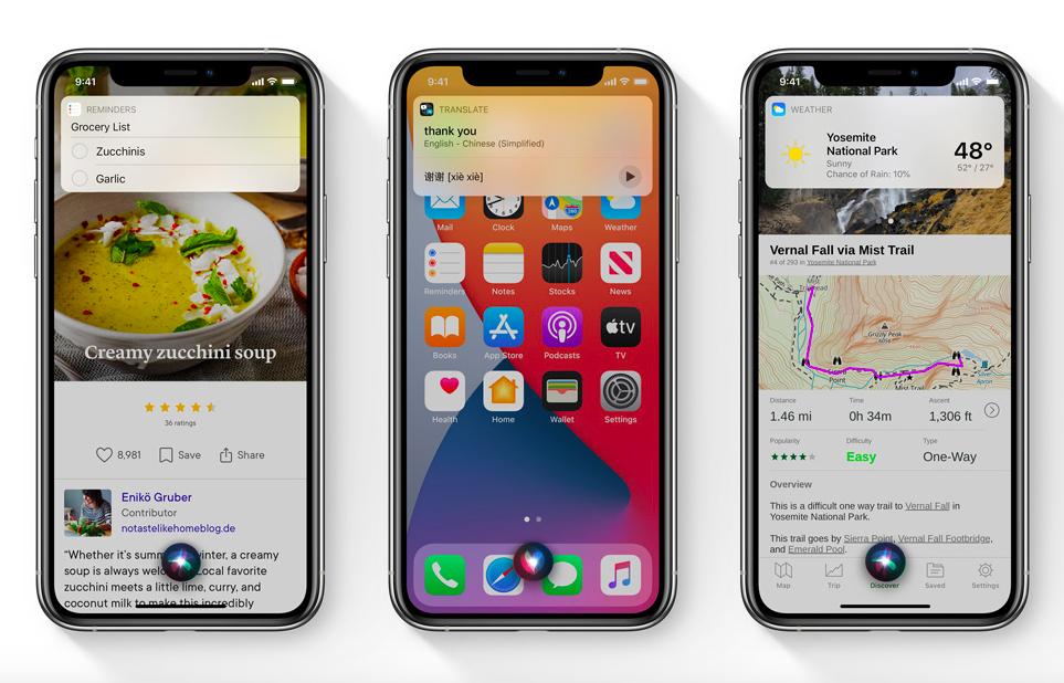 Apple iOS 14 Siri sur iPhone Apple présente iOS 14 : widgets sur lécran daccueil, App Library, Image dans Image sur lécran daccueil...