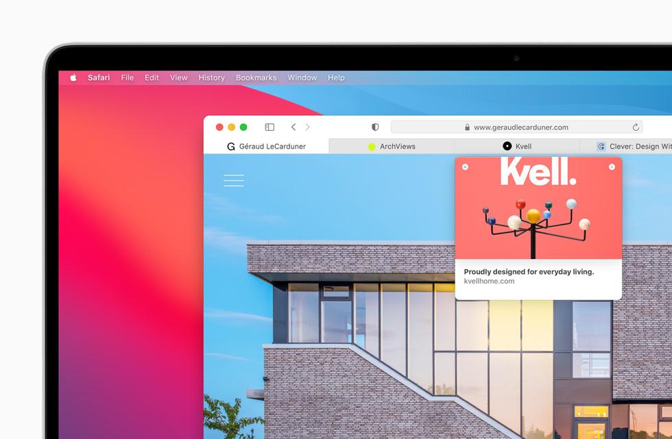 Apple macOS Big Sur Safari Apercu Onglets Voici macOS Big Sur : nouveau design élégant, améliorations dans Plans, Messages et Safari