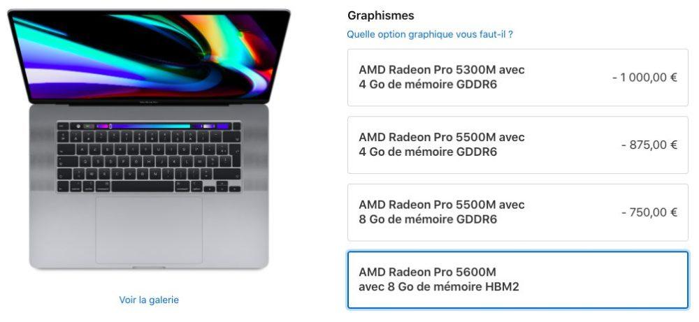 MacBook Pro 16 pouces Carte Graphique Apple propose à lachat la puce graphique Radeon Pro 5600M pour le MacBook Pro 16 pouces