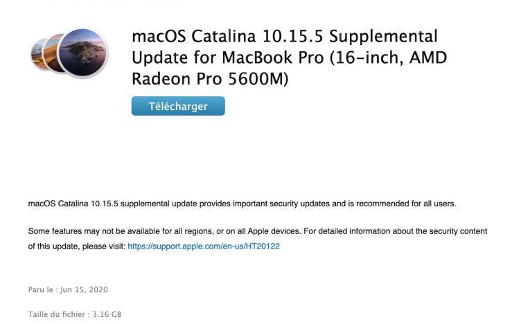 Mise A Jour Supplementaire macOS Catalina 10.15.5 MacBook Pro 16 pouces : une mise à jour de macOS 10.5.5 disponible pour la Radeon Pro 5600M