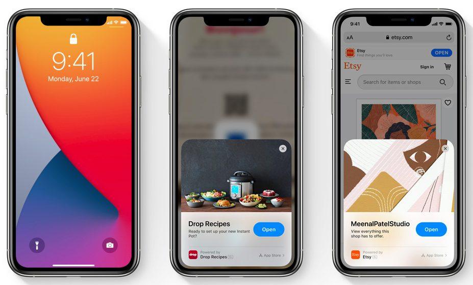 iOS 14 App Clips Apple présente iOS 14 : widgets sur lécran daccueil, App Library, Image dans Image sur lécran daccueil...