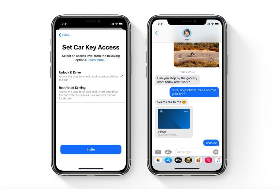 iOS 14 CarKey Apple présente iOS 14 : widgets sur lécran daccueil, App Library, Image dans Image sur lécran daccueil...