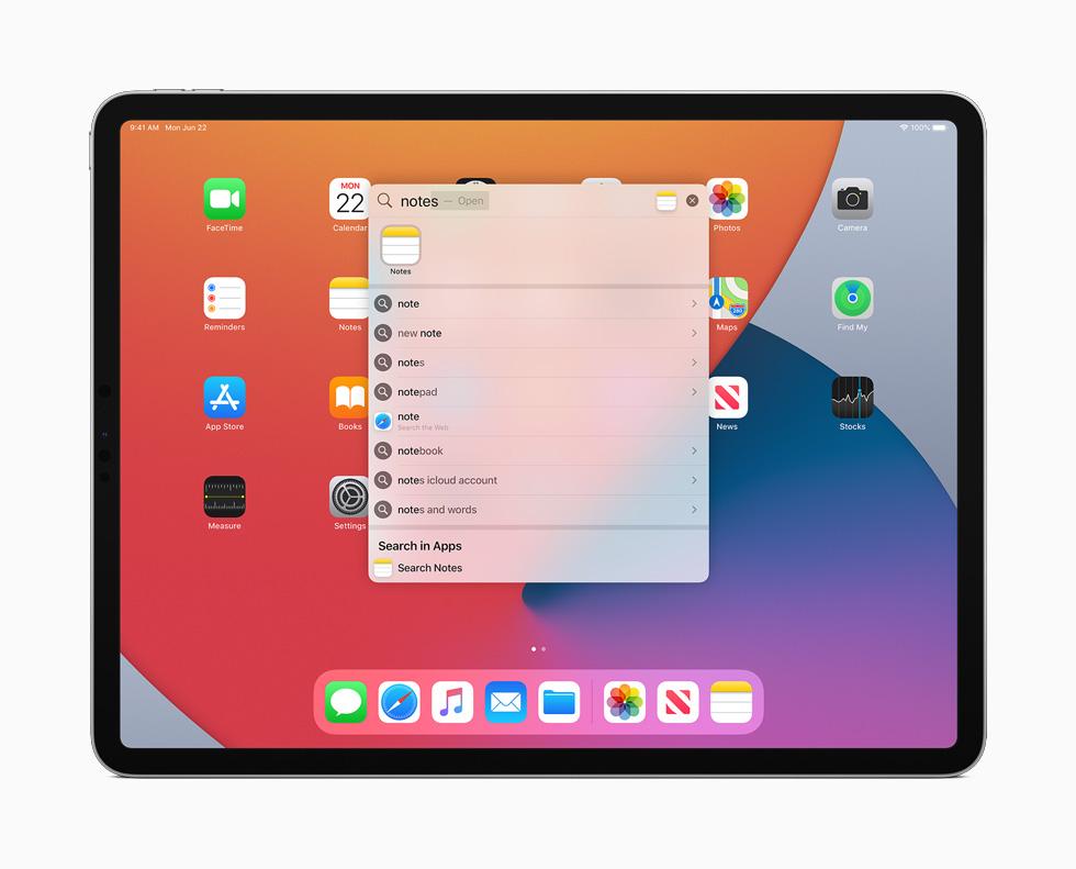 iPadOS 14 Recherche Ecran Accueil iPadOS 14 est arrivé : sidecar, Scribble, réalité augmentée plus réaliste, Siri et Apple Pencil optimisés...