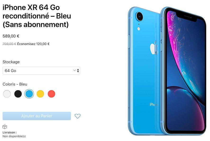 iPhone XR Reconditionne Apple vend désormais les iPhone XR reconditionnés en France