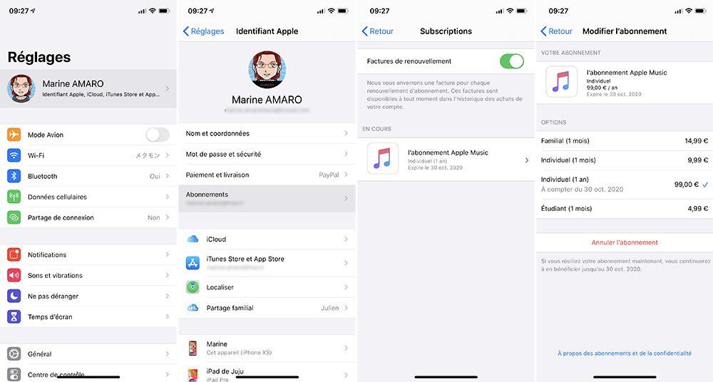 iphone abonnements Comment prendre ou résilier un abonnement comme Apple Music ou en achats intégrés